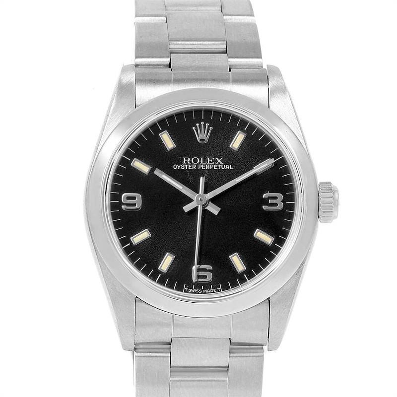 Rolex Midsize 31mm Black Dial Automatic Steel Ladies Watch 67480 SwissWatchExpo
