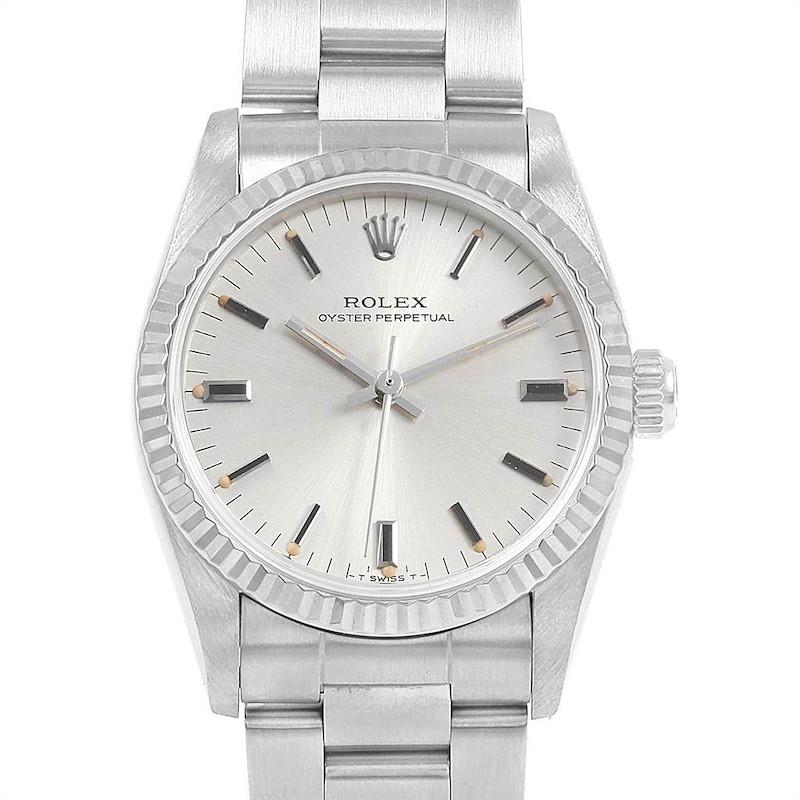 Rolex Midsize 31 Steel White Gold Silver Dial Ladies Watch 67514 SwissWatchExpo