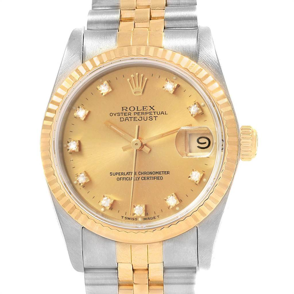 21242 Rolex Datejust 31 Midsize Steel Yellow Gold Diamond Ladies Watch 68273 SwissWatchExpo