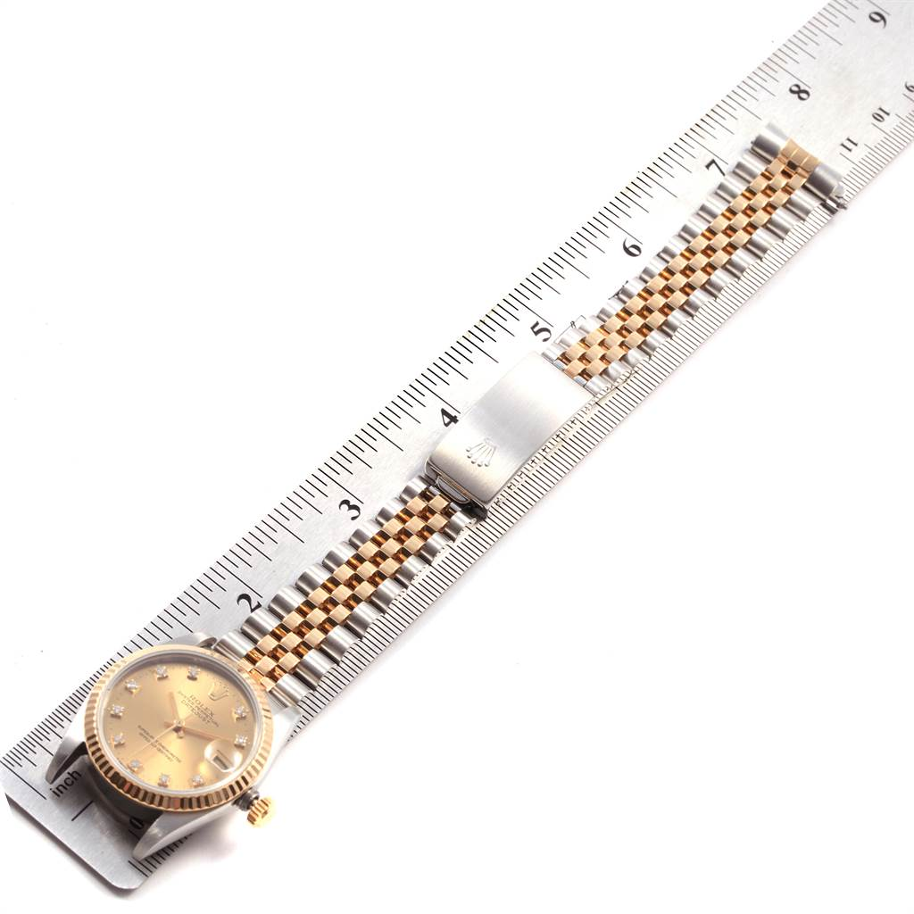21242 Rolex Datejust 31 Midsize Steel Yellow Gold Diamond Ladies Watch 68273 SwissWatchExpo