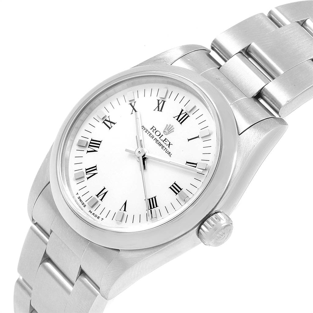 21661 Rolex Midsize 31mm White Dial Automatic Steel Ladies Watch 67480 SwissWatchExpo