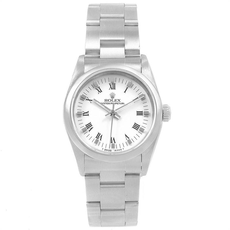 Rolex Midsize 31mm White Dial Automatic Steel Ladies Watch 67480 SwissWatchExpo