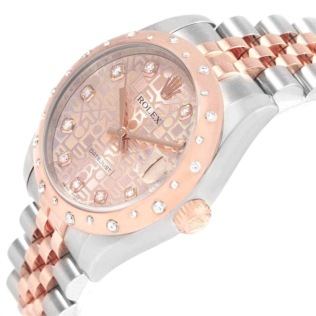 Rolex Datejust 31 Midsize Steel Everose Gold Diamond Watch 178341 SwissWatchExpo