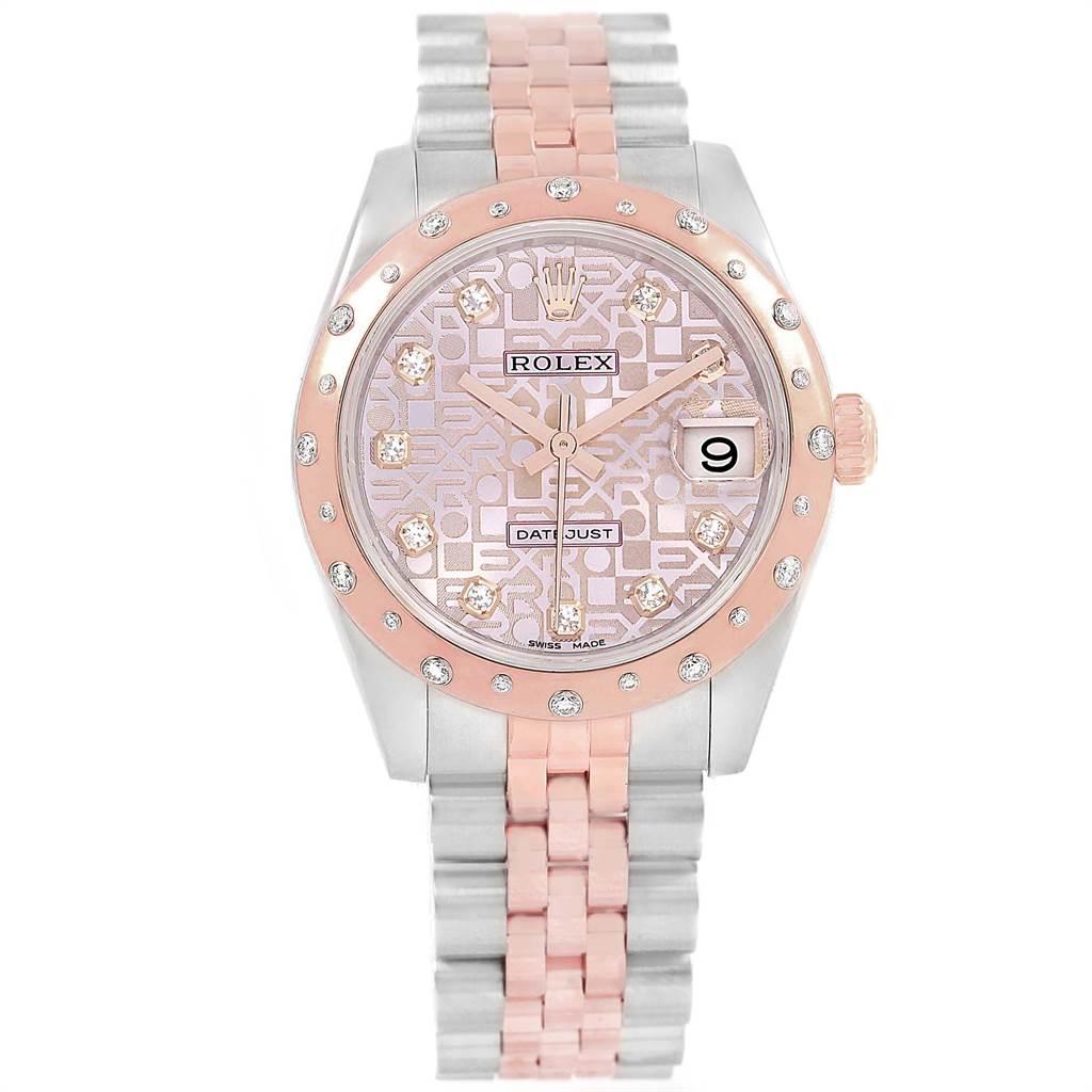 18847A Rolex Datejust 31 Midsize Steel Everose Gold Diamond Watch 178341 SwissWatchExpo