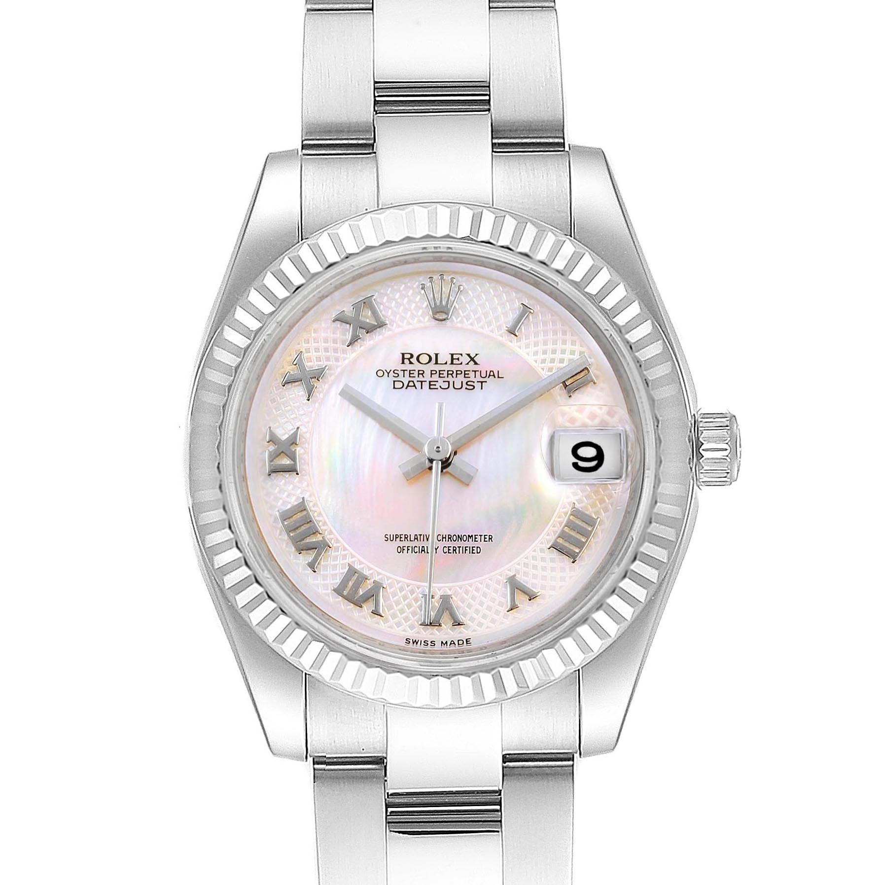 Rolex Datejust Midsize Steel White Gold MOP Dial Ladies Watch 178274 Box Card SwissWatchExpo