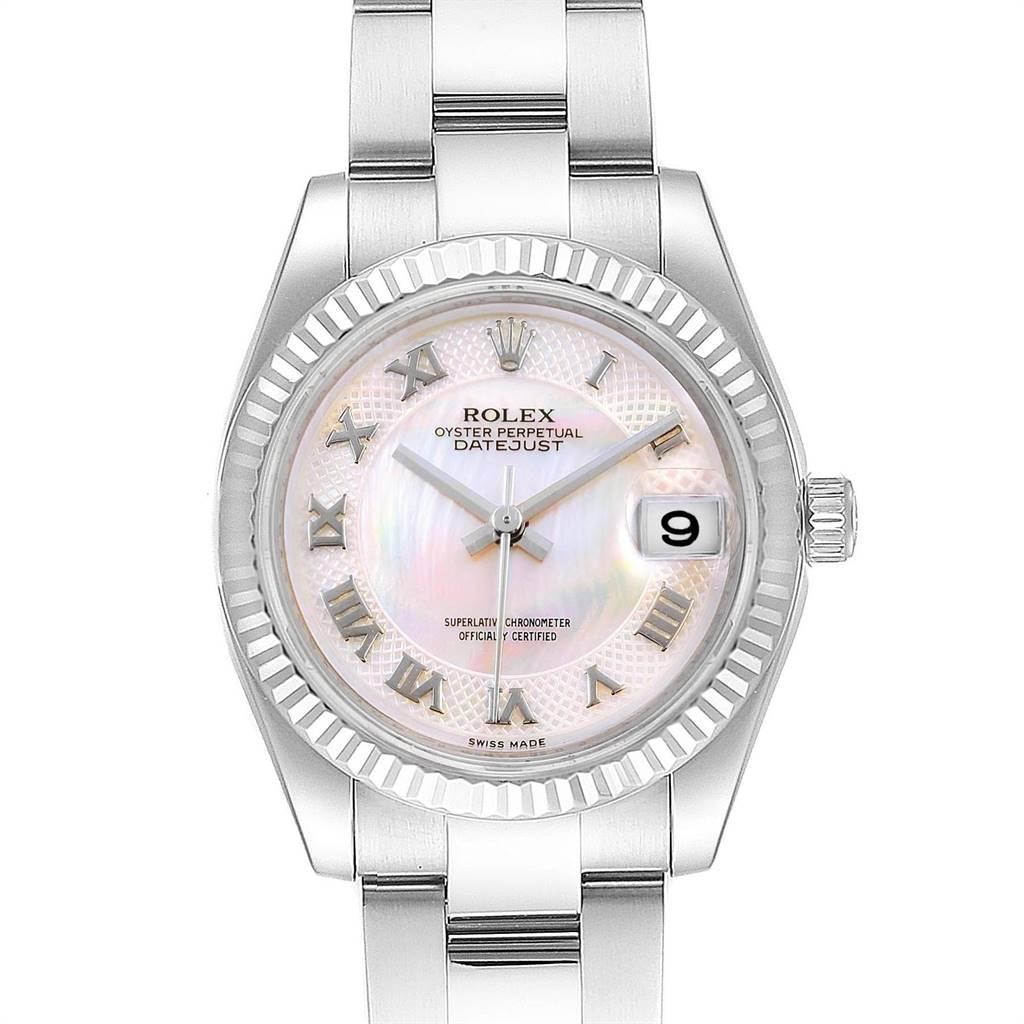 Rolex Datejust Midsize Steel White Gold MOP Dial Ladies Watch 178274 Box Card SwissWatchExpo