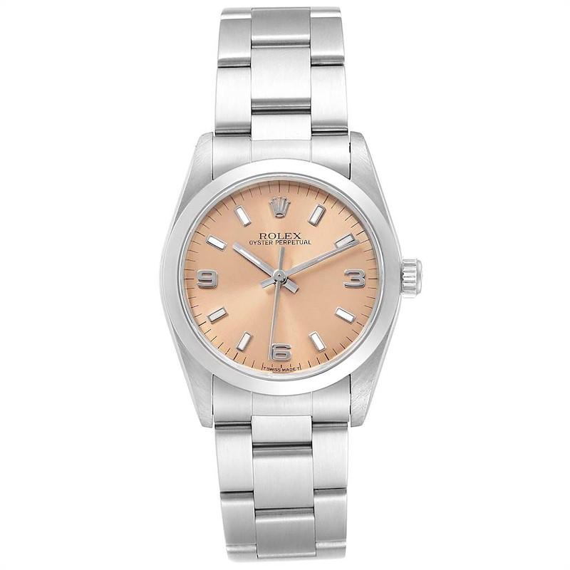 Rolex Midsize 31mm Salmon Dial Automatic Steel Ladies Watch 67480 SwissWatchExpo