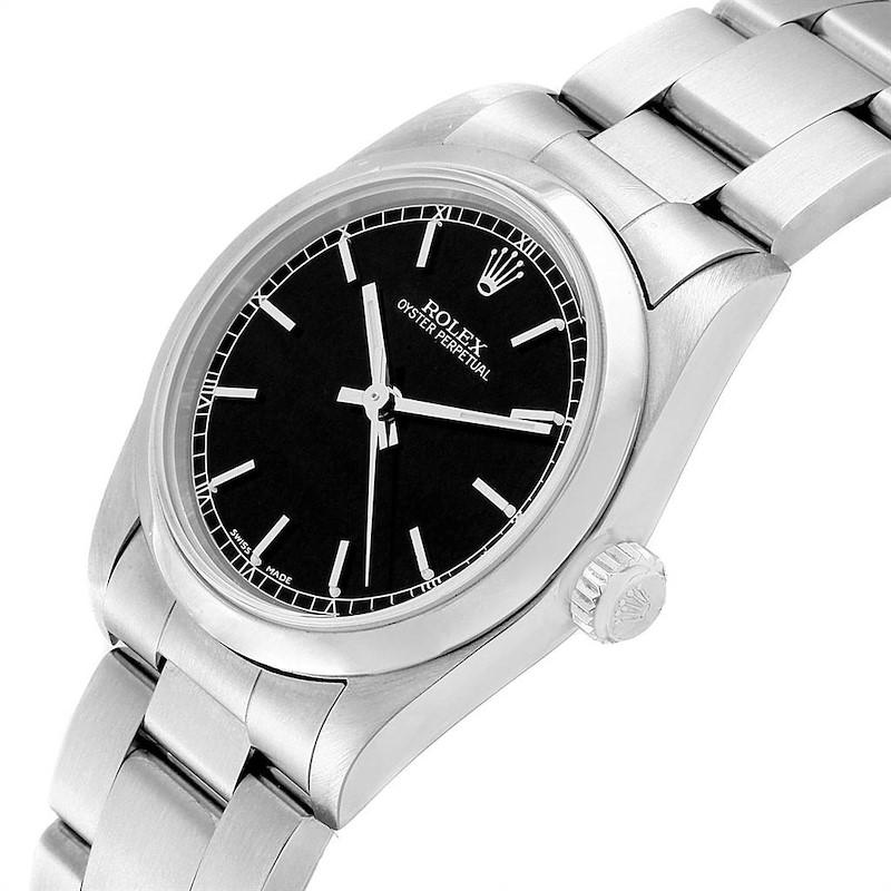 Rolex Midsize 31 Black Dial Steel Ladies Watch 77080 Box Papers SwissWatchExpo