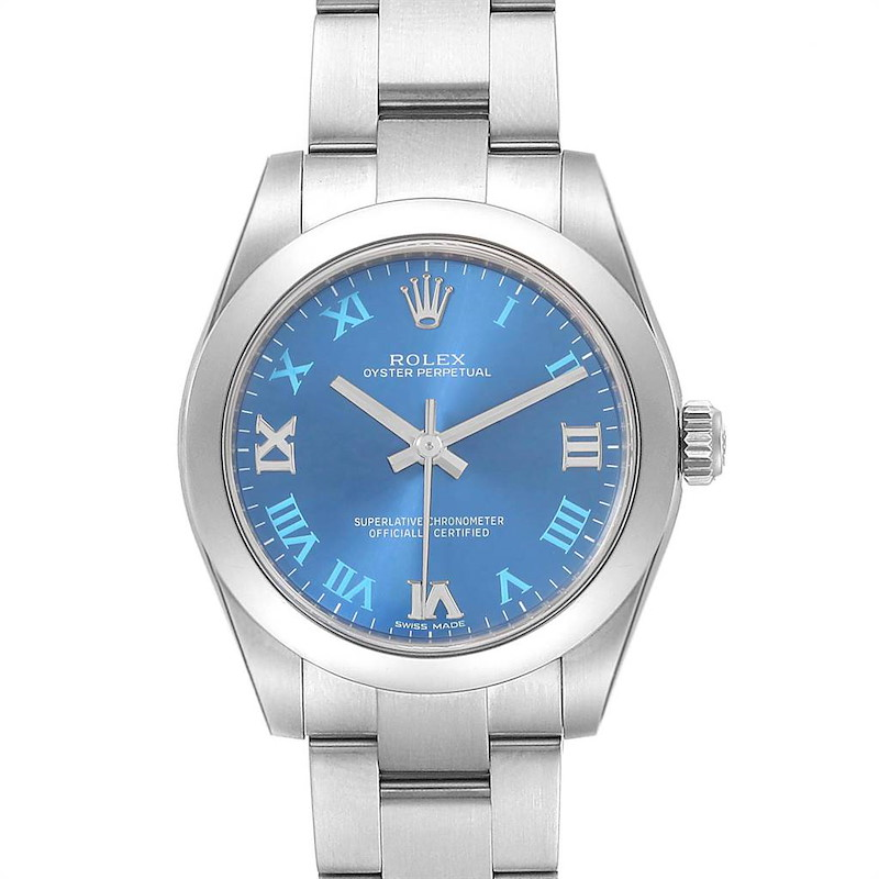 Rolex Oyster Perpetual Midsize 31 Blue Dial Ladies Watch 177200 SwissWatchExpo