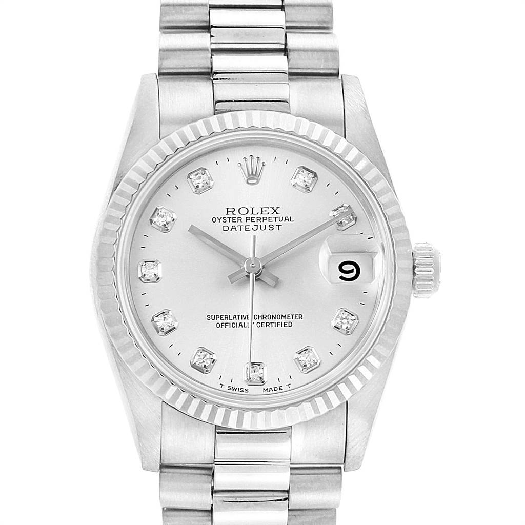 Rolex President Datejust Midsize White Gold Diamonds Ladies Watch 68279