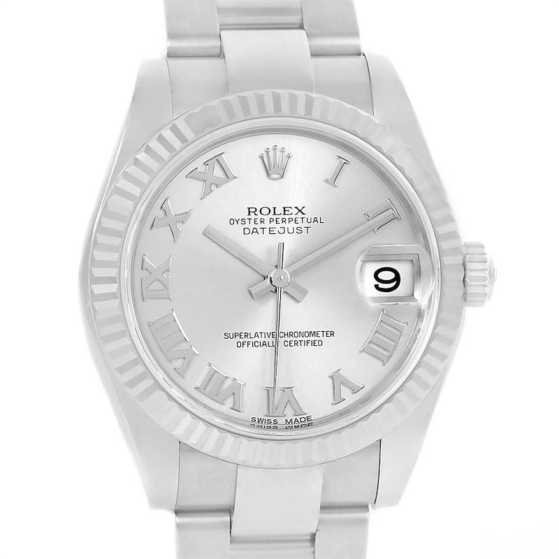 Rolex Datejust Midsize Steel White Gold Silver Roman Dial Watch 178274 SwissWatchExpo