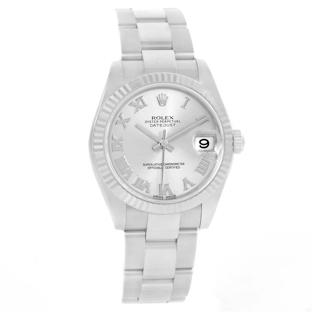 Rolex Datejust Midsize Steel White Gold Silver Roman Dial Watch 178274 SwissWatchExpo