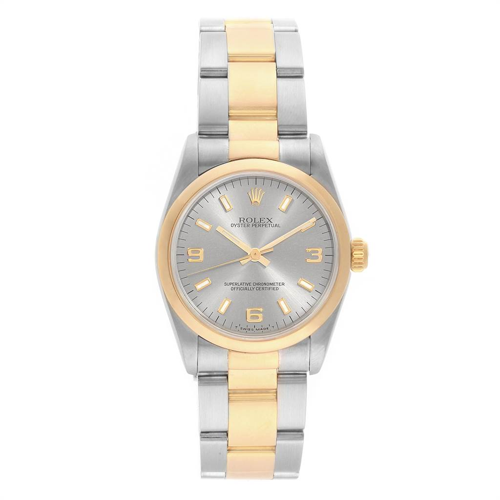 2305d0c9e52 ... 22222 Rolex Midsize 31 Slate Dial Yellow Gold Steel Ladies Watch 67483  SwissWatchExpo ...