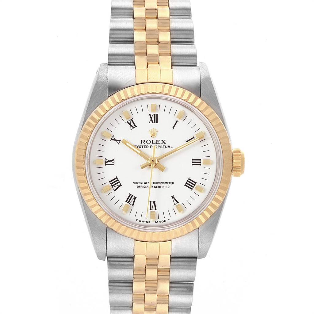 22122 Rolex Midsize 31 Yellow Gold Steel White Dial Ladies Watch 67513 SwissWatchExpo