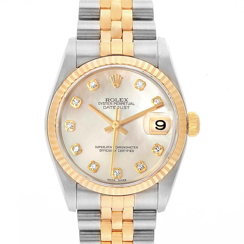 Rolex Datejust Midsize Steel Yellow Gold MOP Diamond Ladies Watch 78273 SwissWatchExpo