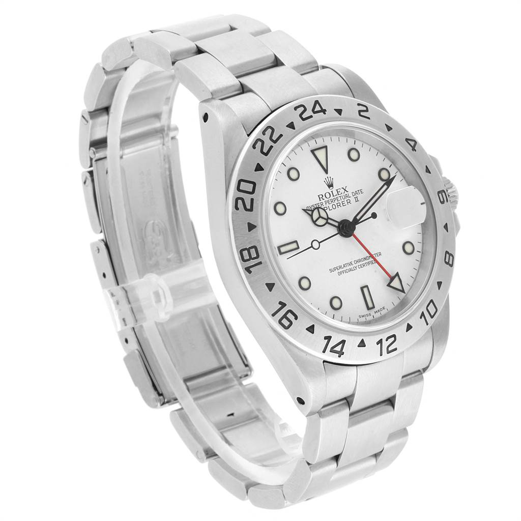 22334 Rolex Explorer II White Dial Red Hand Mens Watch 16570 Box SwissWatchExpo