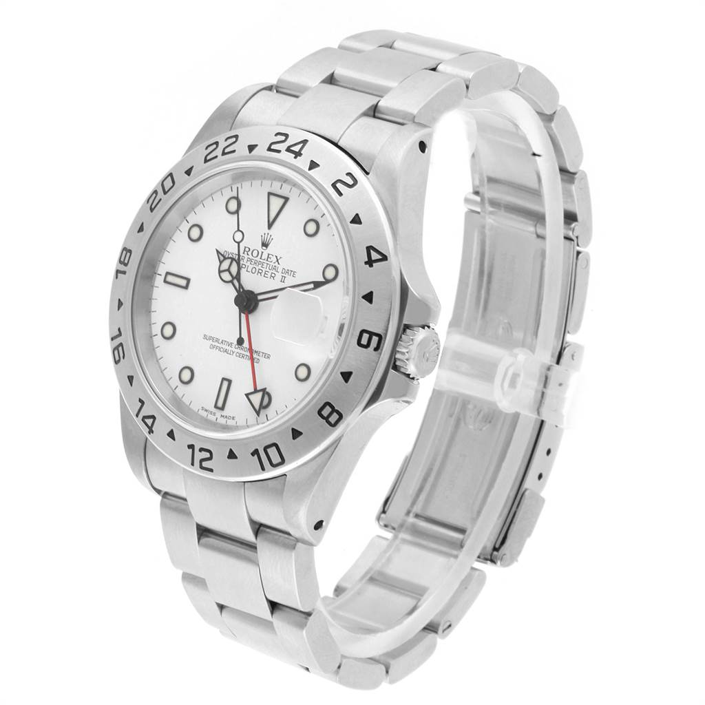 22334 Rolex Explorer II White Dial Red Hand Mens Watch 16570 Box SwissWatchExpo