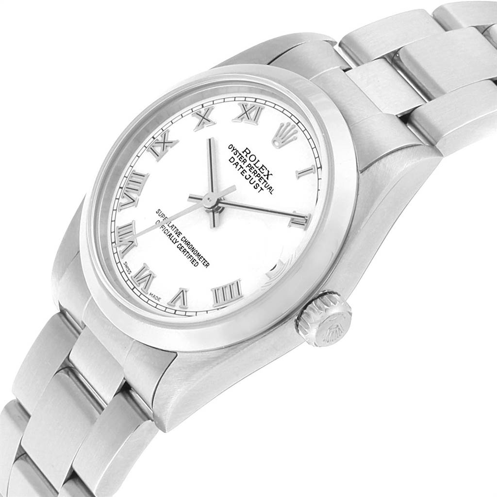 Rolex Datejust 31 Midsize White Roman Dial Steel Ladies Watch 78240 SwissWatchExpo