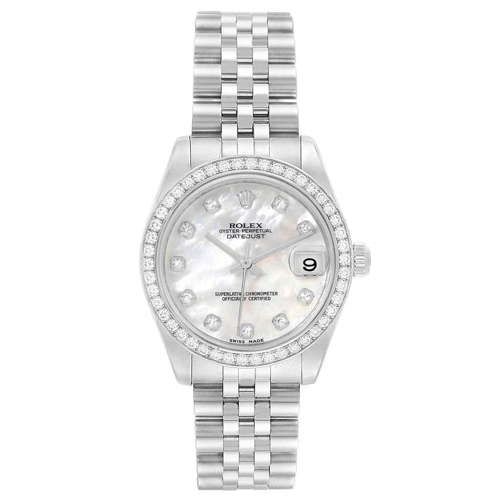 22572 Rolex Datejust Midsize Steel White Gold MOP Diamond Ladies Watch 178384 SwissWatchExpo