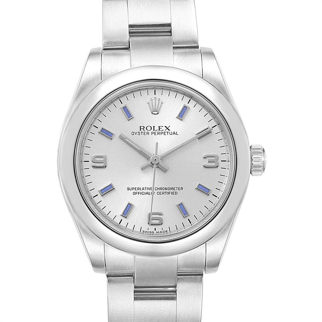 22547 Rolex Midsize 31 Silver Dial Blue Hour Markers Steel Ladies Watch 177200 SwissWatchExpo