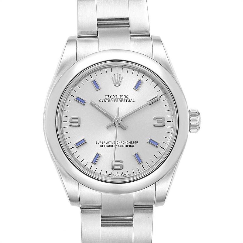 Rolex Midsize 31 Silver Dial Blue Hour Markers Steel Ladies Watch 177200 SwissWatchExpo
