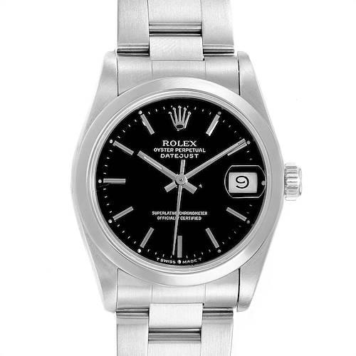Photo of Rolex Midsize Datejust 31 Black Dial Domed Bezel Ladies Steel Watch 68240