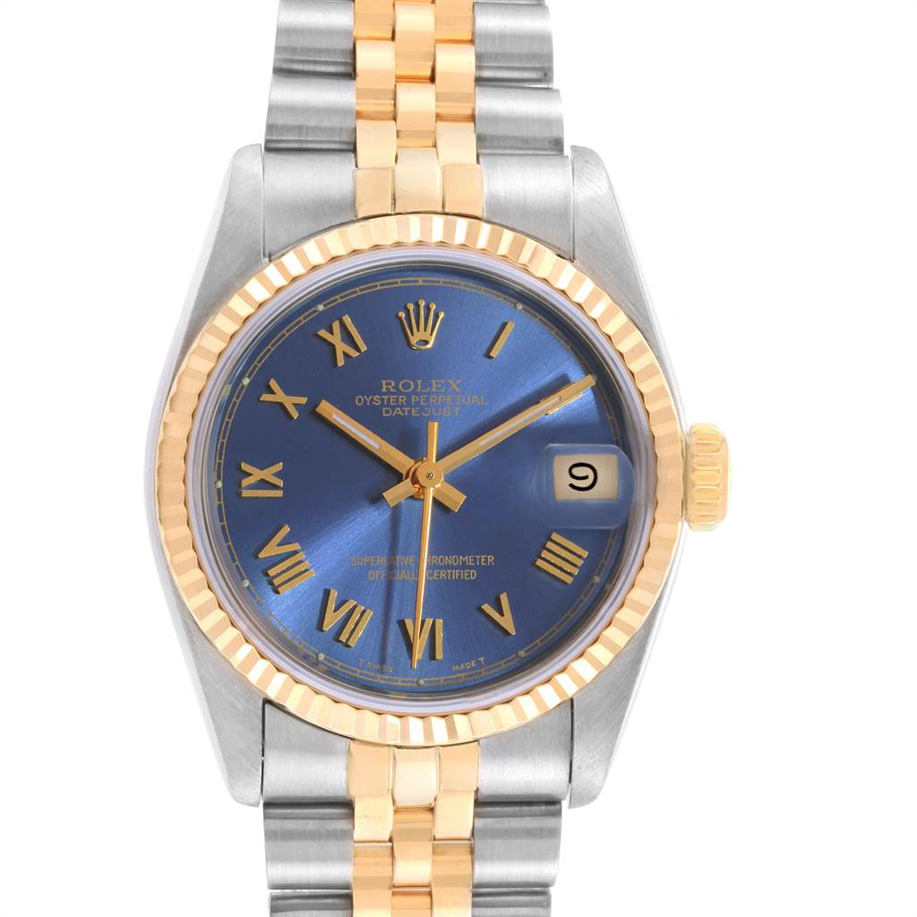 22530 Rolex Datejust Midsize Steel Yellow Gold Blue Dial Ladies Watch 68273 SwissWatchExpo