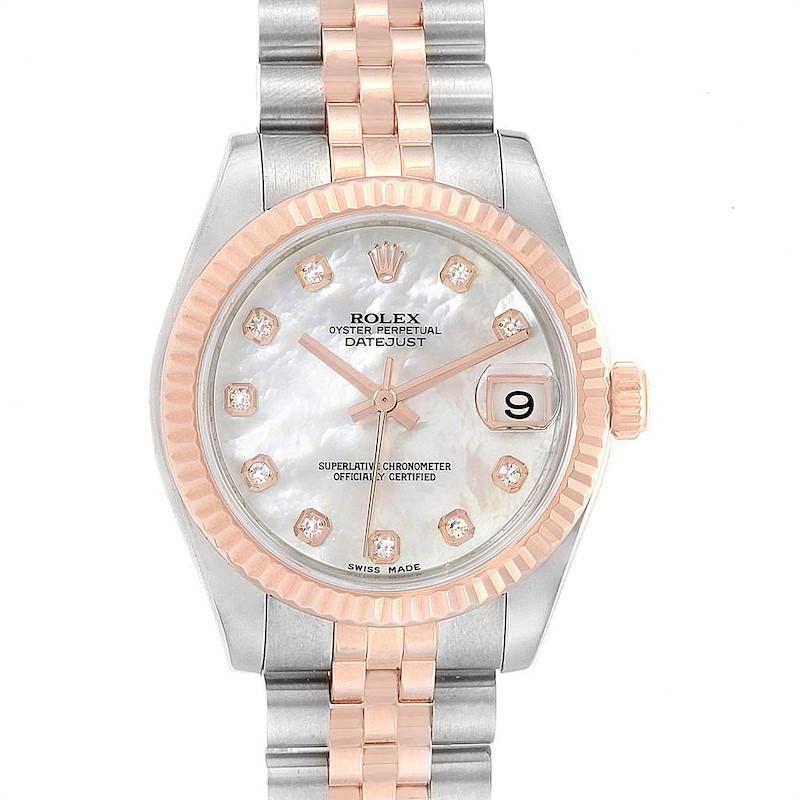 Rolex Datejust Midsize Steel Rose Gold MOP Diamond Ladies Watch 178271 SwissWatchExpo