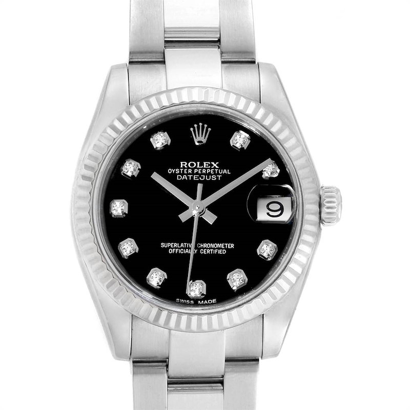 Rolex Datejust Midsize Steel White Gold Black Diamond Dial Watch 178274 SwissWatchExpo