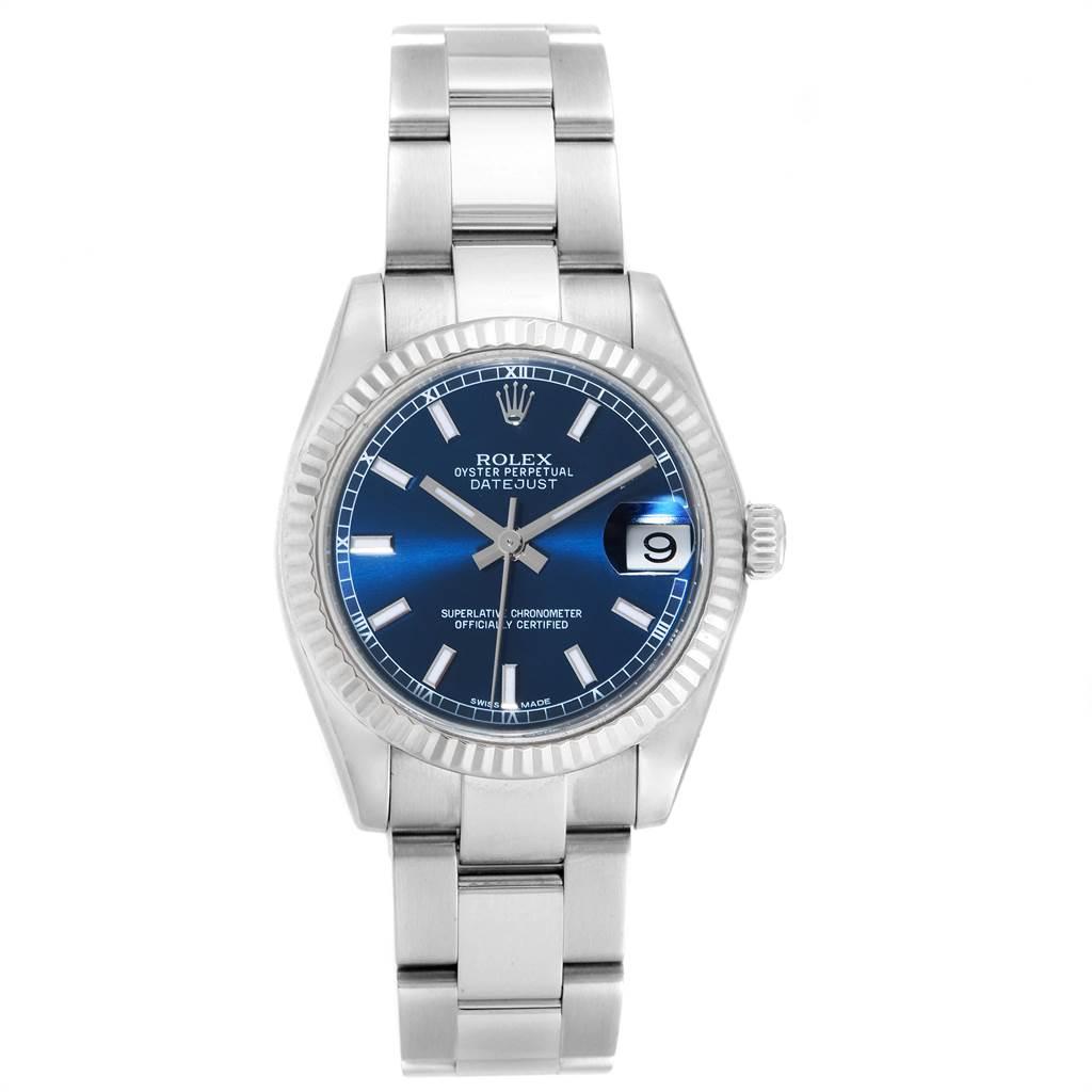 Rolex Datejust Midsize 31 Steel White Gold Blue Dial Watch 178274