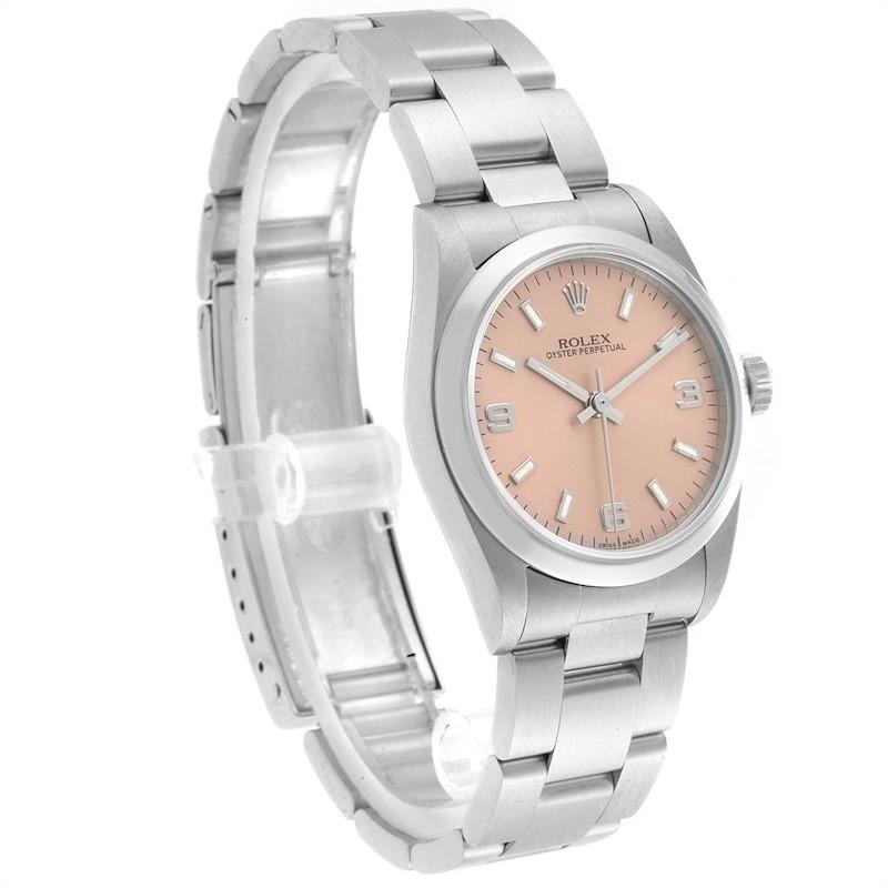 Rolex Midsize Salmon Dial Smooth Bezel Steel Ladies Watch 77080 SwissWatchExpo