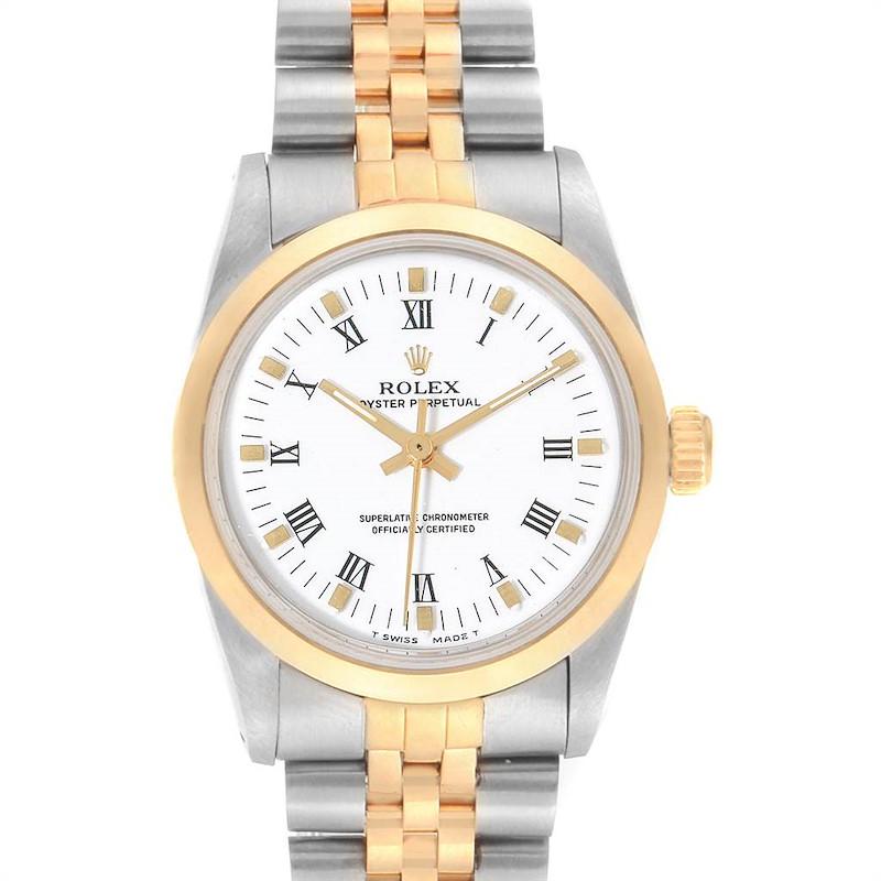 Rolex Midsize 31mm Yellow Gold Steel White Dial Ladies Watch 67513 SwissWatchExpo