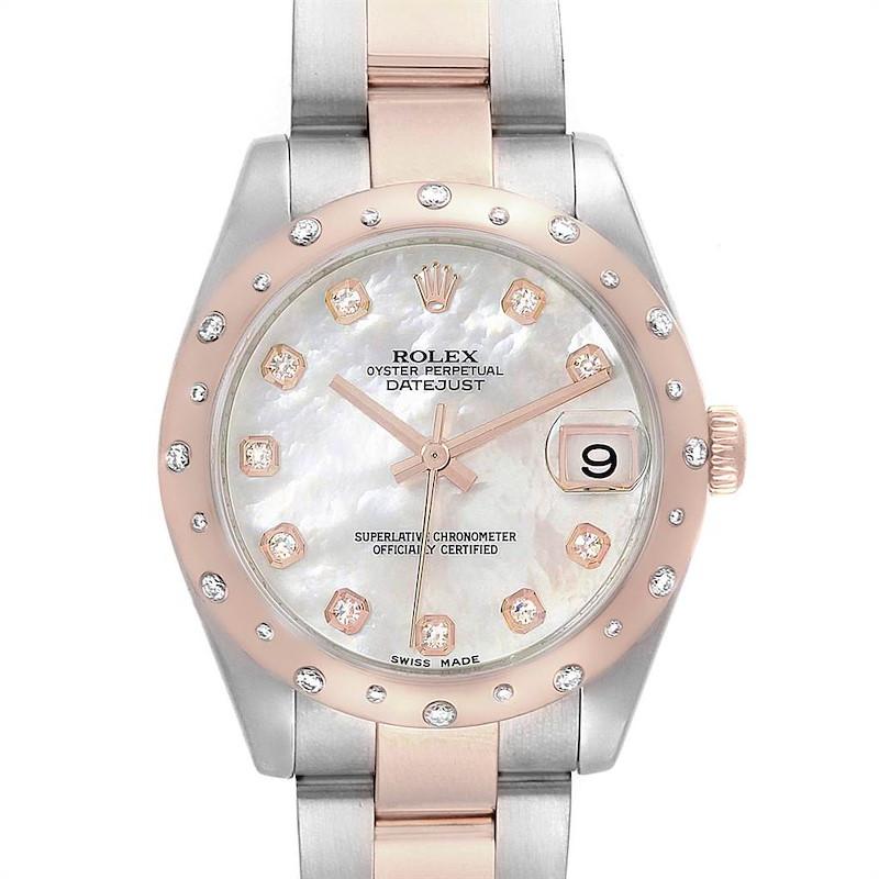 Rolex Datejust Midsize Steel Everose Gold MOP Diamond Ladies Watch 178341 SwissWatchExpo