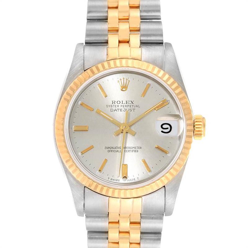 Rolex Datejust Midsize Steel Yellow Gold Silver Dial Ladies Watch 68273 SwissWatchExpo