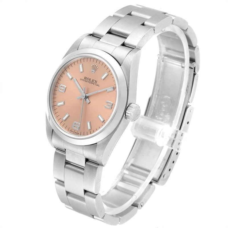 Rolex Midsize Salmon Dial Domed Bezel Steel Ladies Watch 77080 SwissWatchExpo