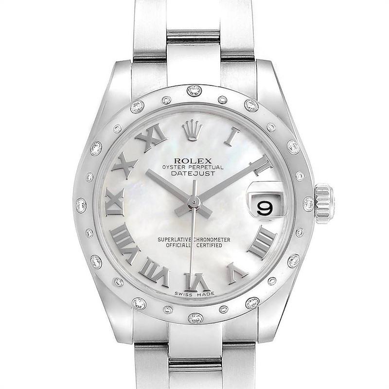 Rolex Datejust 31 Midsize Steel MOP Diamond Ladies Watch 178344 SwissWatchExpo
