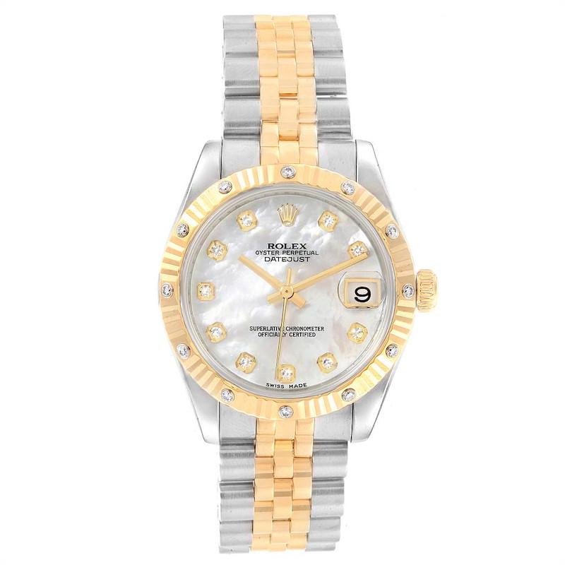 Rolex Datejust Midsize Steel 18K Yellow Gold Diamond Watch 178313 SwissWatchExpo