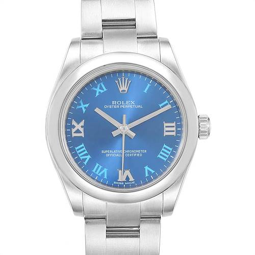 Photo of Rolex Oyster Perpetual Midsize 31 Blue Dial Ladies Watch 177200 Box Card