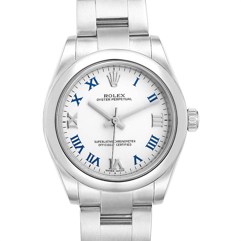 Rolex Oyster Perpetual Midsize 31 White Dial Ladies Watch 177200 SwissWatchExpo