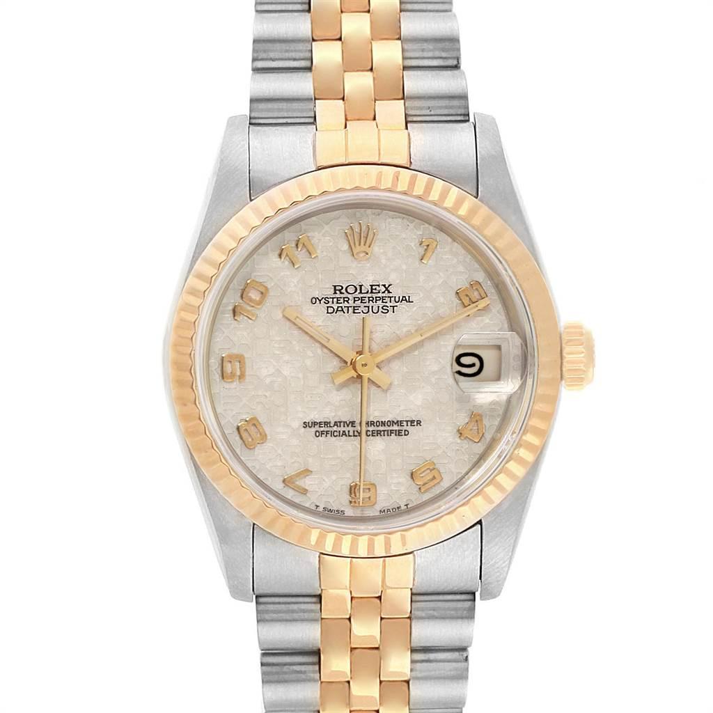 22693 Rolex Datejust Midsize 31mm Steel Yellow Gold Dial Ladies Watch 68273 SwissWatchExpo