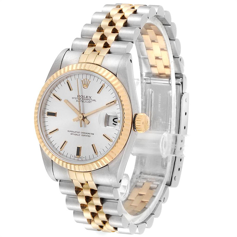 Rolex Datejust Midsize Steel Yellow Gold Silver Dial Ladies Watch 68273 SwissWatchExpo