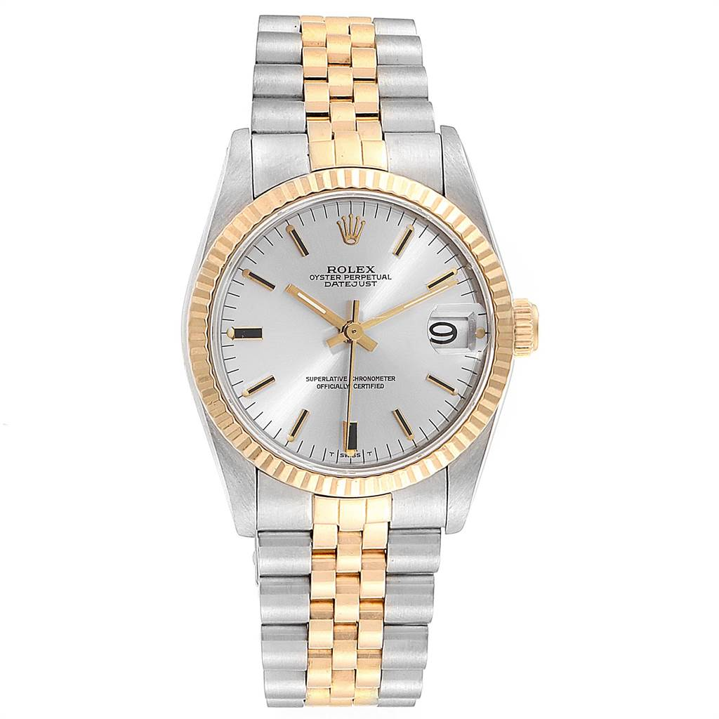 21662 Rolex Datejust Midsize Steel Yellow Gold Silver Dial Ladies Watch 68273 SwissWatchExpo