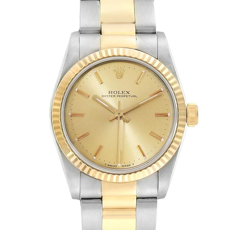 Rolex Midsize 31 Yellow Gold Steel Fluted Bezel Ladies Watch 67513 SwissWatchExpo