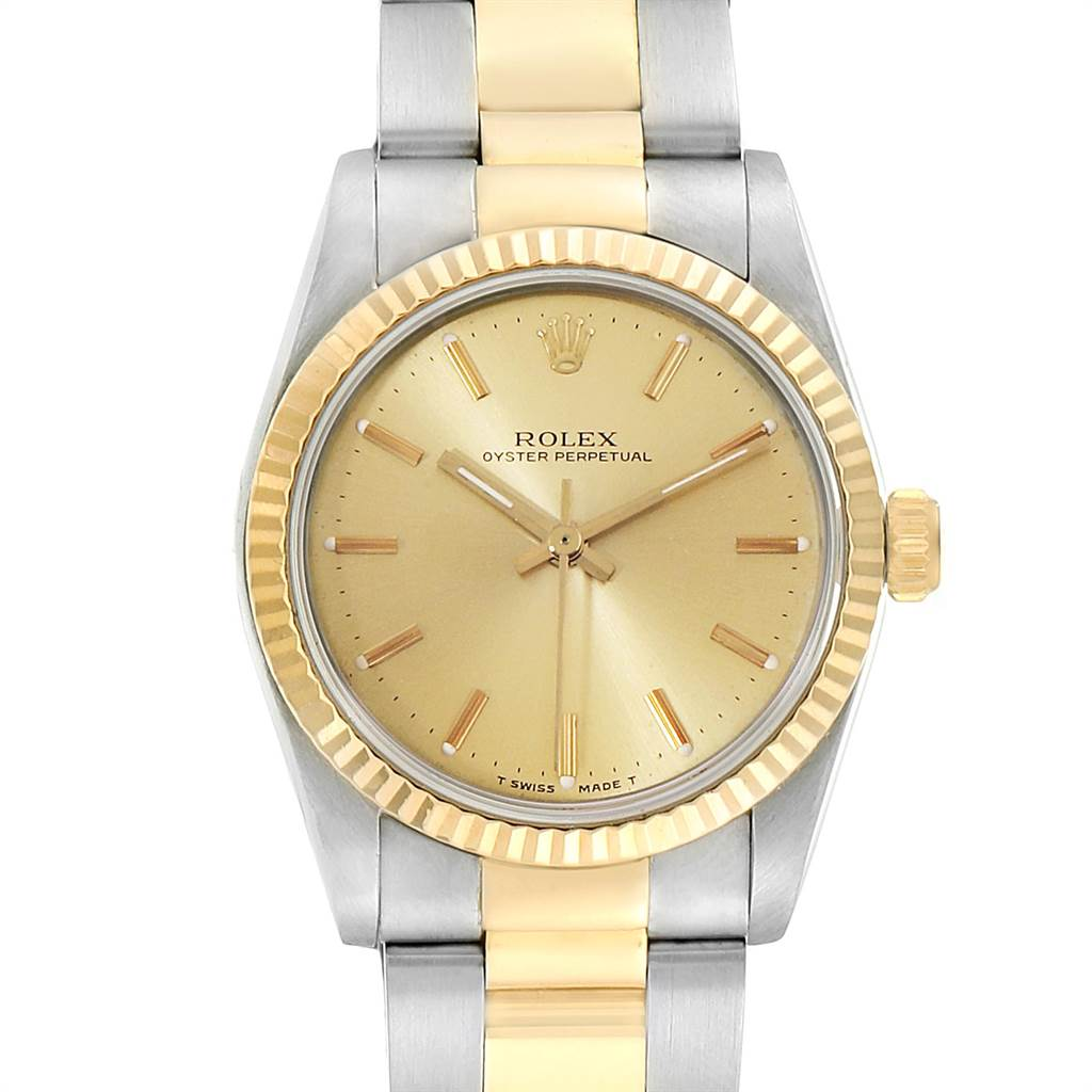 Photo of Rolex Midsize 31 Yellow Gold Steel Fluted Bezel Ladies Watch 67513