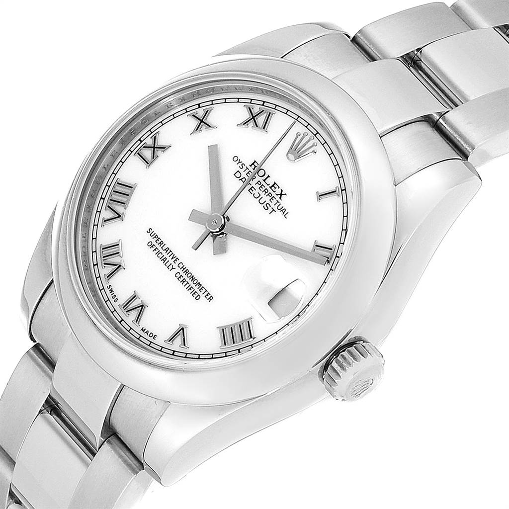 23357 Rolex Midsize Datejust White Roman Dial Steel Ladies Watch 178240 SwissWatchExpo