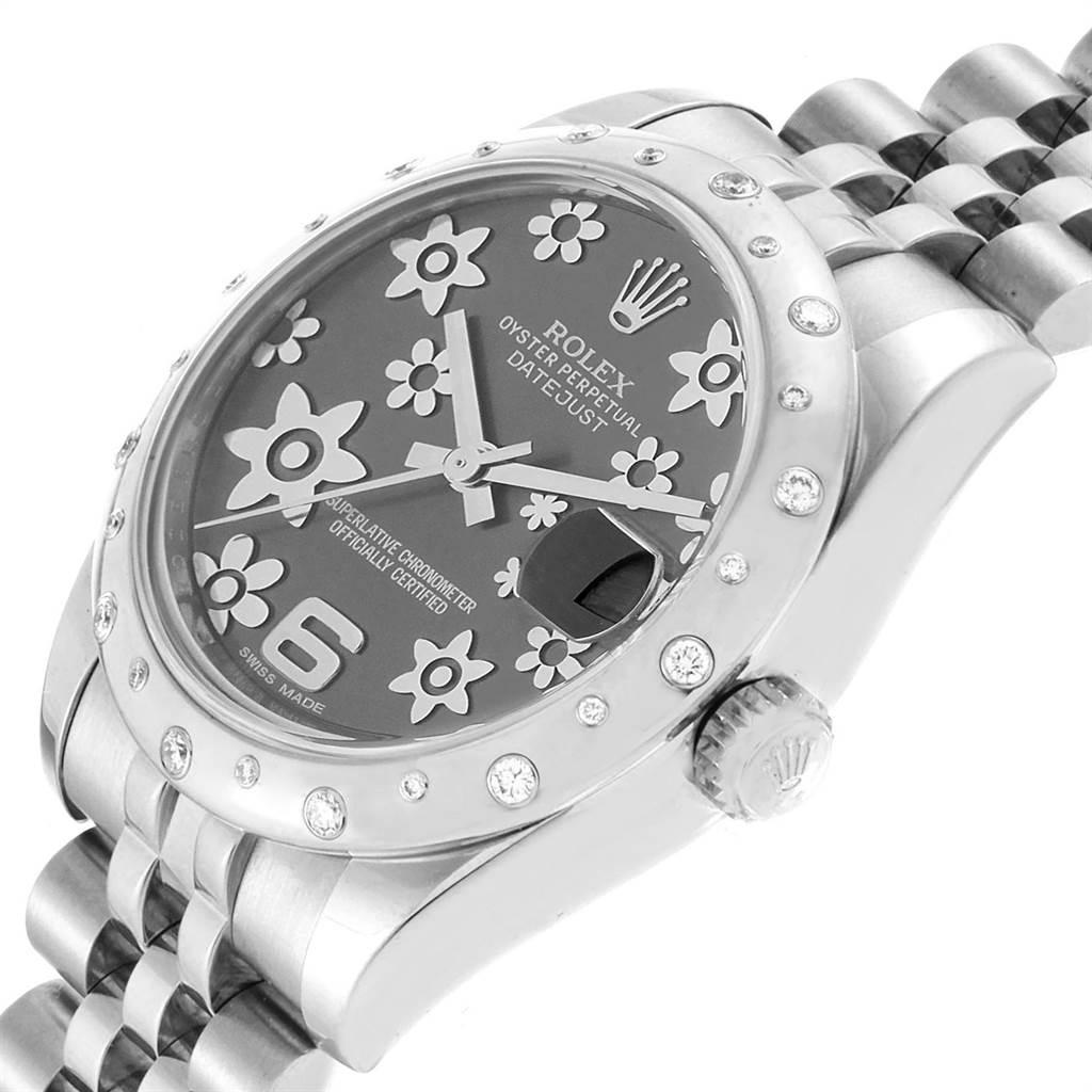 Rolex Datejust Midsize 31 Steel Diamond Floral Dial Ladies Watch 178344 SwissWatchExpo