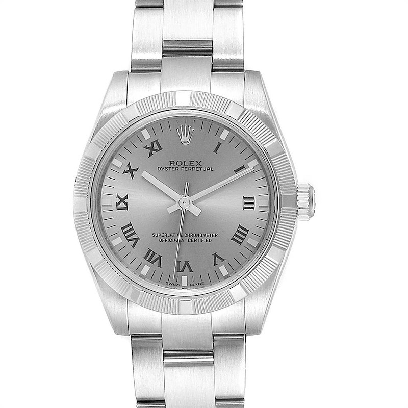 Rolex Midsize 31 Silver Rhodium Dial Steel Ladies Watch 177210 SwissWatchExpo