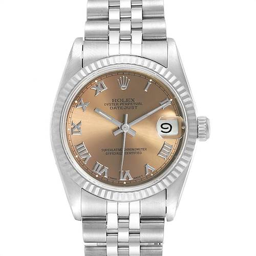 Photo of Rolex Datejust Midsize 31 Steel White Gold Salmon Dial Ladies Watch 68274