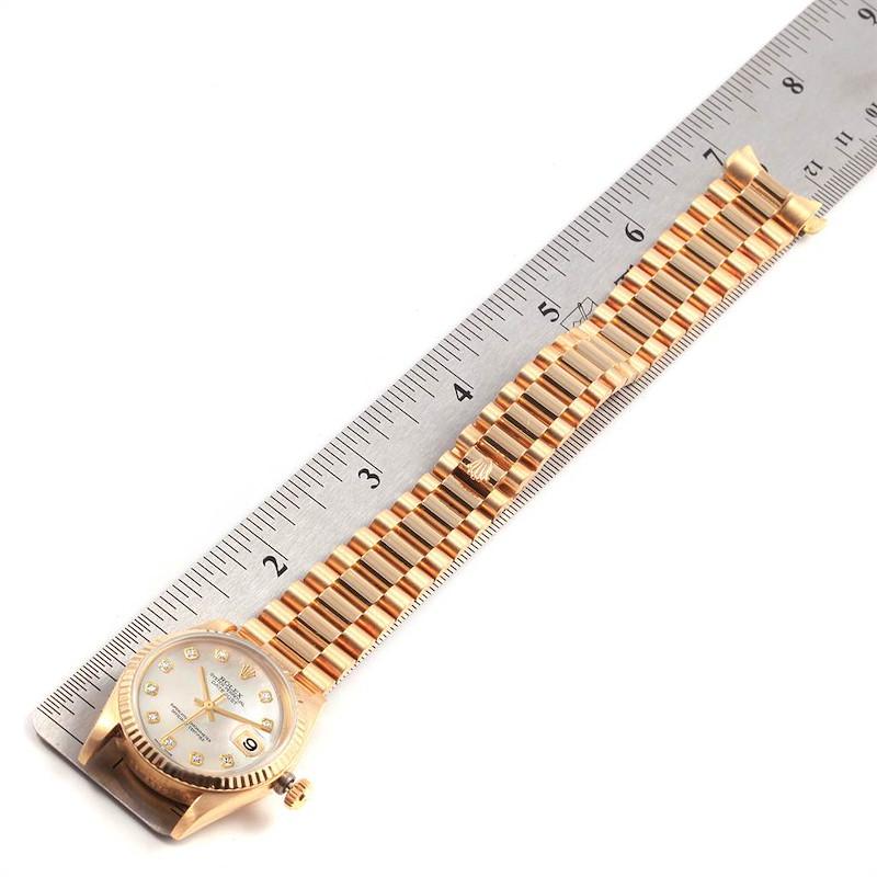 Rolex President Datejust 31 Midsize Yellow Gold MOP Diamond Ladies Watch 68278 SwissWatchExpo