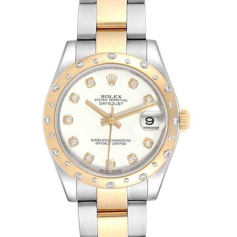 Rolex Datejust Midsize Steel Yellow Gold Diamond Watch 178343 Box Card SwissWatchExpo